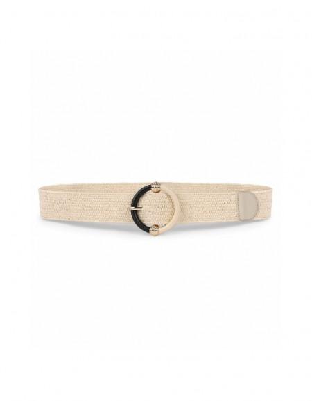 Beige Straw knitted belt