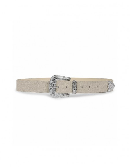Grey Authentic buckle belt