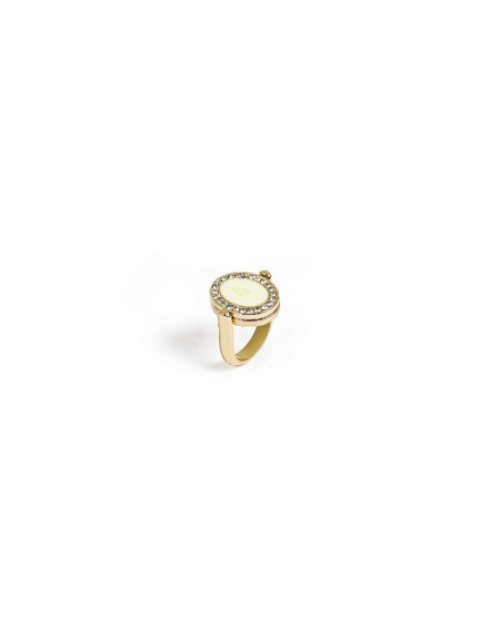Gold Stone lined ring