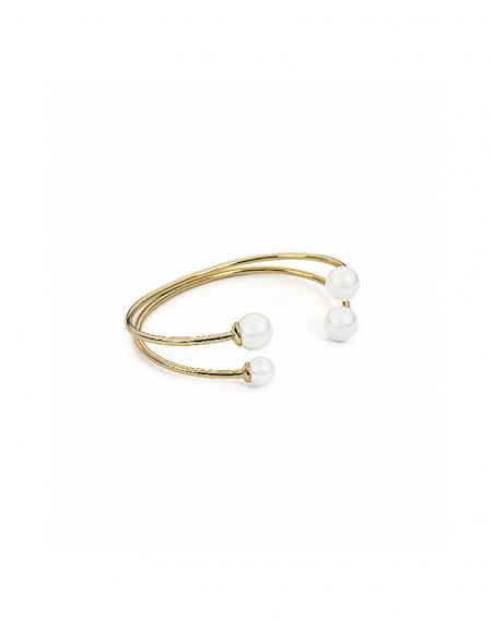 Pearl Clamp bracelet with pearl pendant