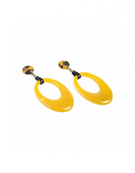 Mustard Imbricated hoop earring