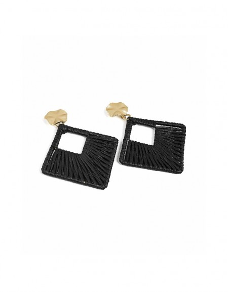 Black Straw knitted earring