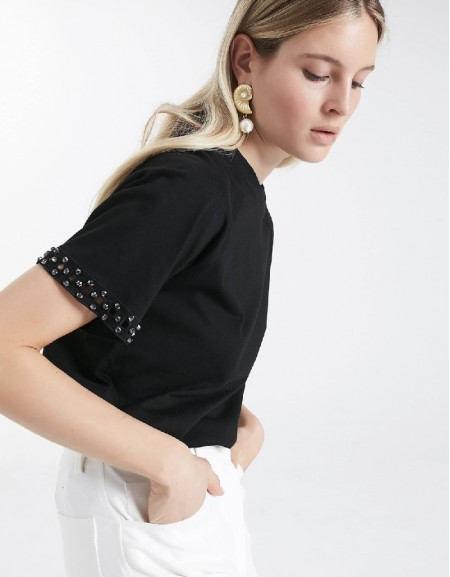 Black T-shirt with stone work on sleeves