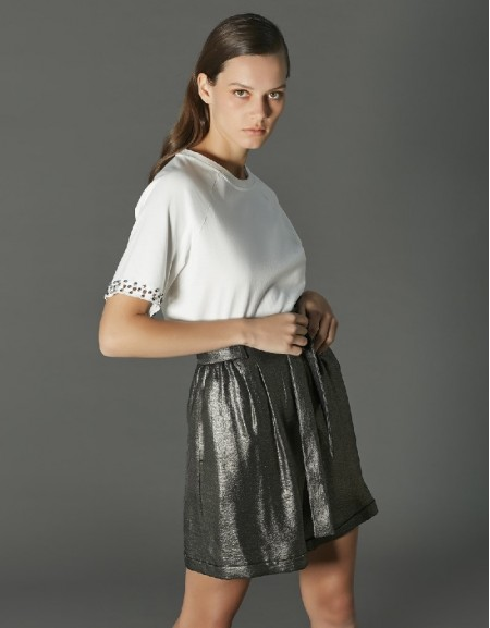 Ecru T-shirt with stone work on sleeves