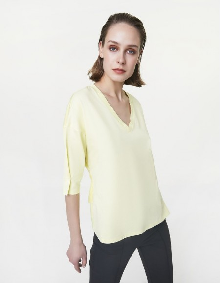 Yellow Lace-up detailed t-shirt