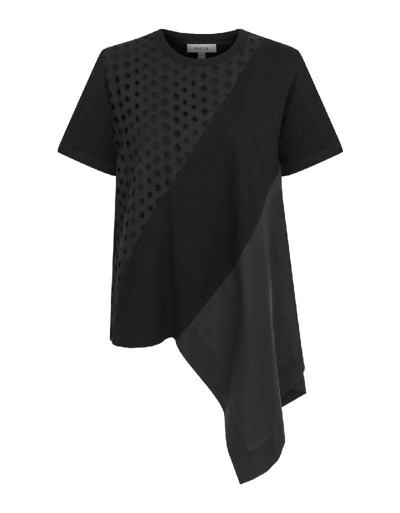 Black Openwork asymmetrical top