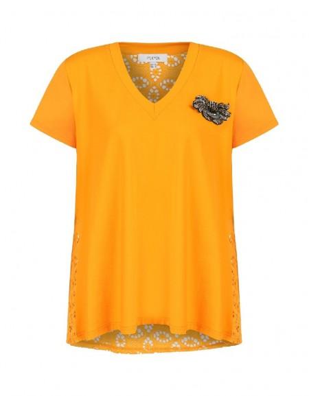 Orange Back openwork embroidered top