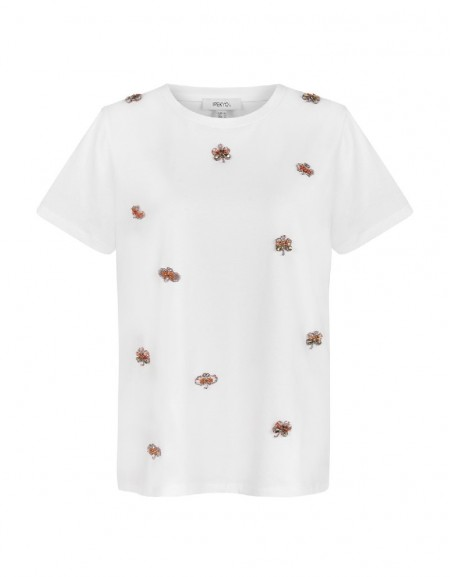 White Embellished t-shirt top