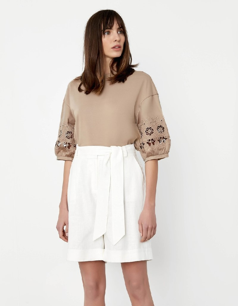 Natural White embroidery sleeve detailed t-shirt