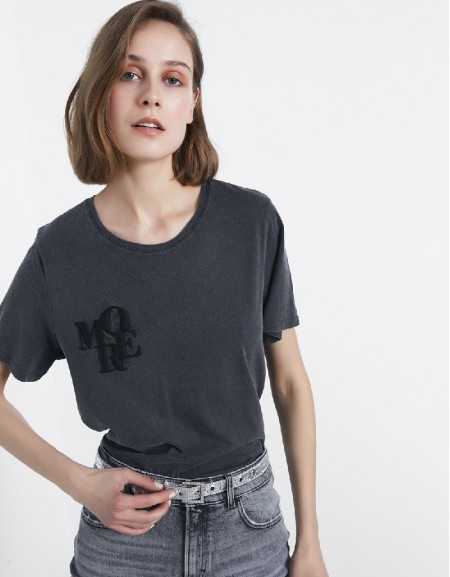 Anthracite Slogan Embroidered T-Shirt