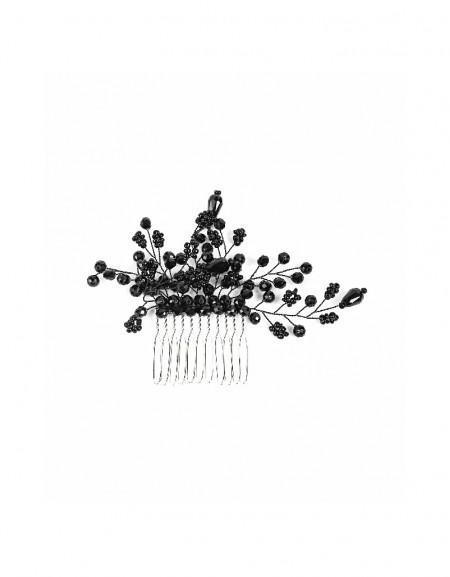 Black Hair pin with beads and flower figure