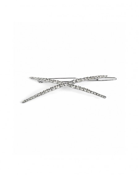 Silver Diagonal hair pin with stones