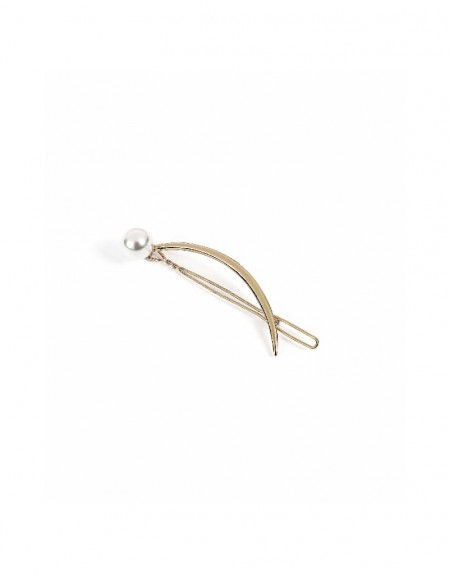 Gold Hair pin with pearl pendant