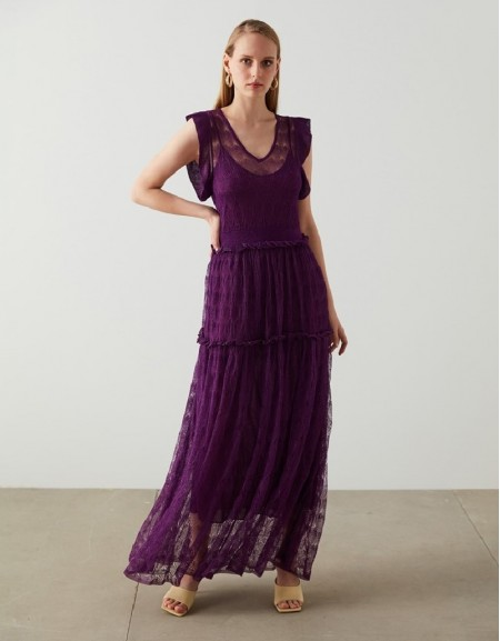 Purple Maxi Knitted Dress