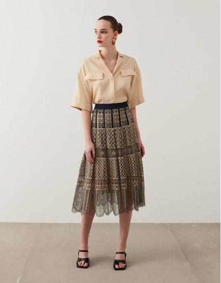 Natural Lace Midi Skirt