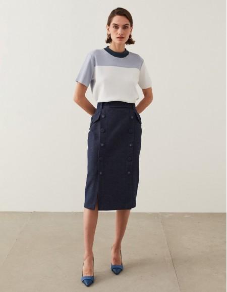 Indigo Denim-Effect Pencil Skirt