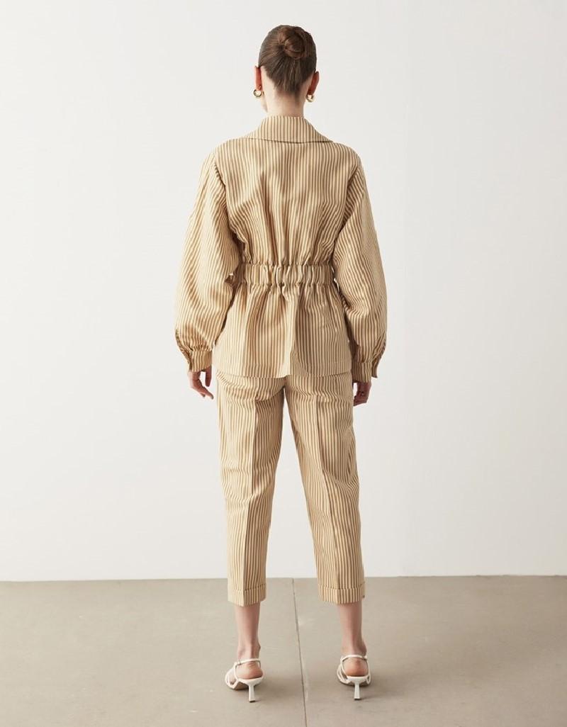 Beige Striped Linen Jacket