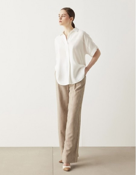 Off White Pleated Detail Blouse