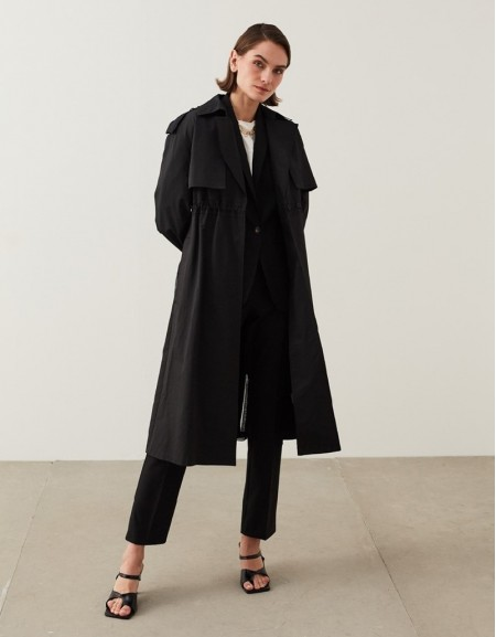 Black Technical Fabric Trench Coat