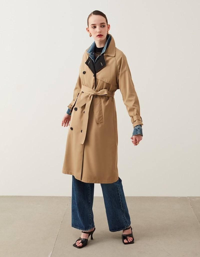 Natural Denim Mix Trench Coat
