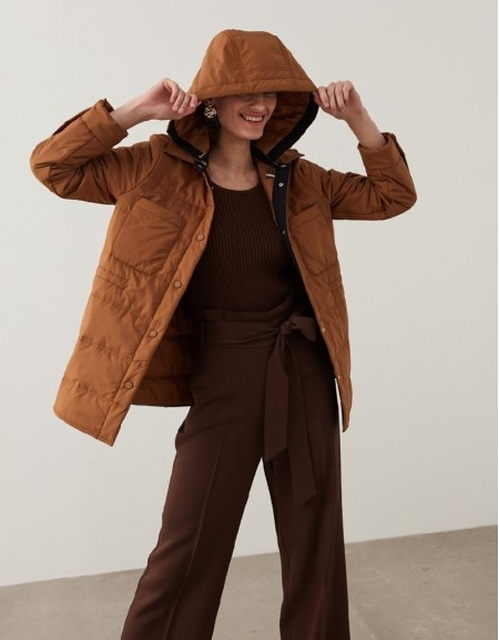 Camel Puffer Jacket With Hood