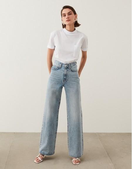 Indigo Super High Rise Wide Leg Fit Jeans