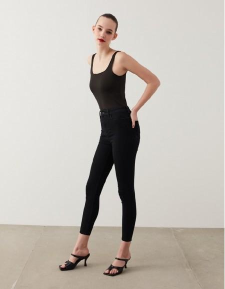 Black Push-In Skinny Jeans
