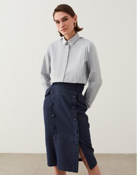 Pastel Blue Ribbed Striped Poplin Shirt