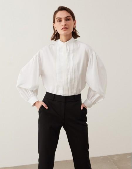 White Ribbed Poplin Shirt
