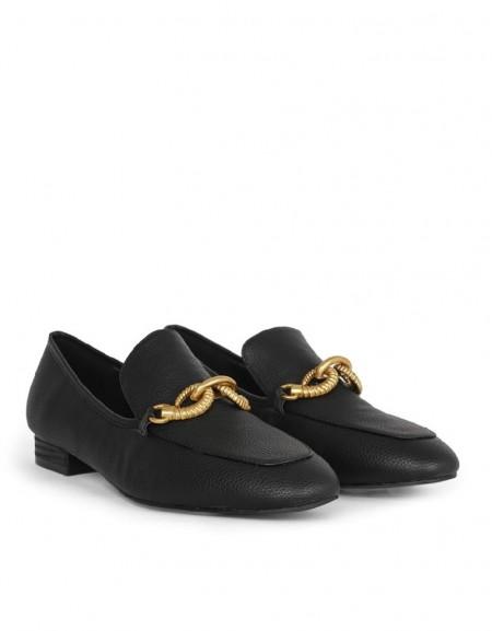 Black Metal Buckle Flat Shoes