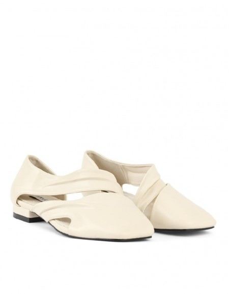 White Flat Shoes With Cut Out Detail