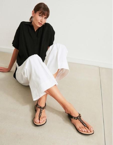Black Stone Buckle Sandals