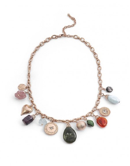 Gold Natural Stone Pendant Collar Necklace
