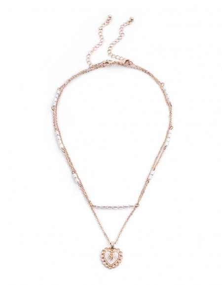 Pearl Bead String Heart Pendant Necklace