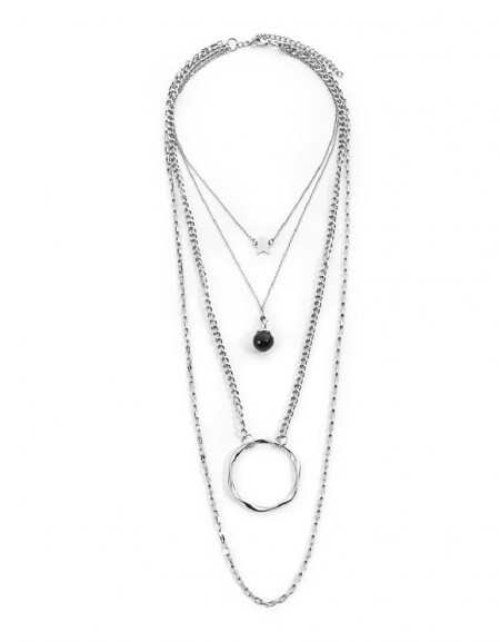 Silver Ring Pendant Chain Necklace