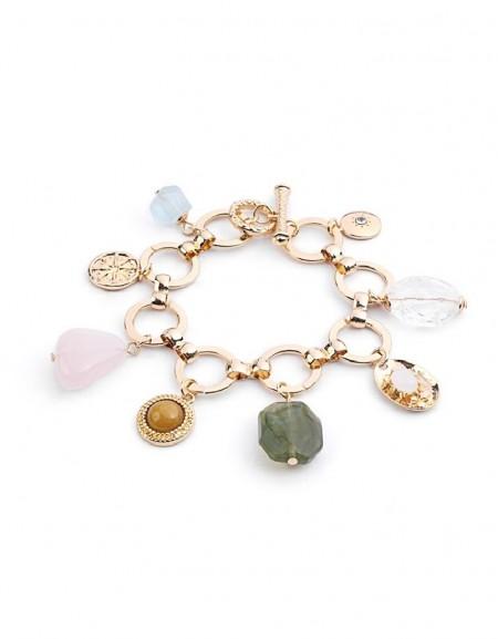 Gold Natural Stone Pendant Bracelet