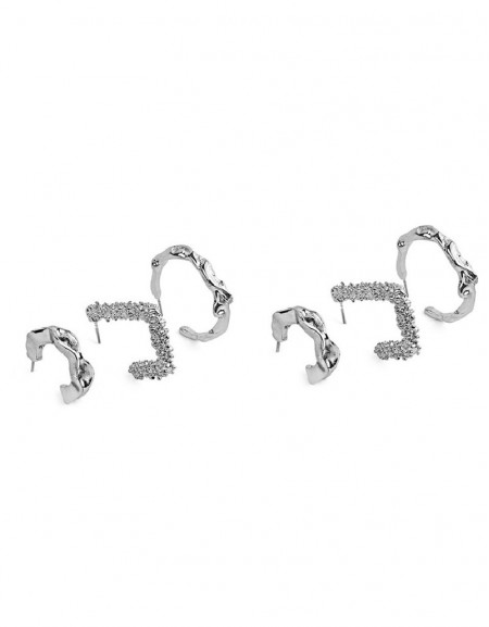 Silver Multiple Hoop Earrings