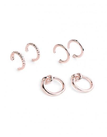 Pink Gold Multiple Hoop Earrings