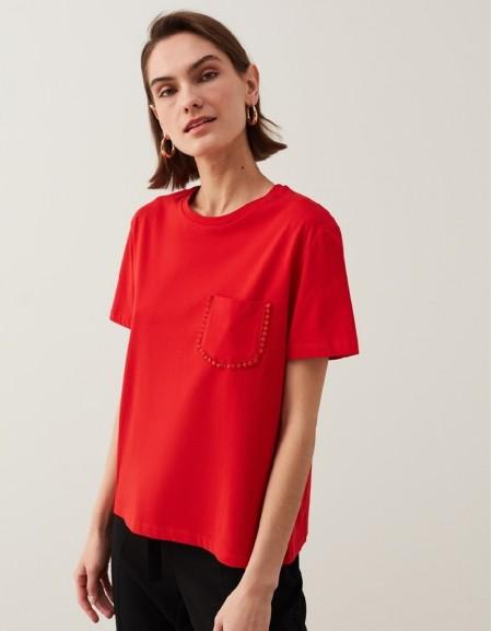 Red Guipure Stripe T-Shirt