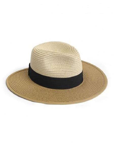 Beige Color Transition Straw Hat