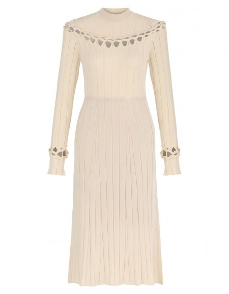 Ecru Striped Knit Maxi OFF-White Dress