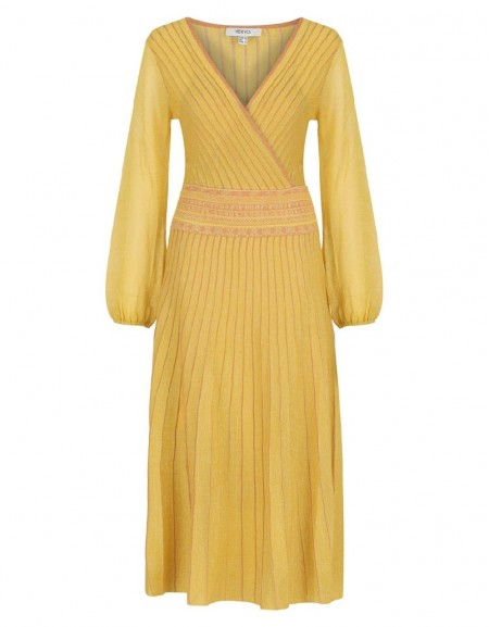 Yellow Striped Knit Maxi Yellow Dress