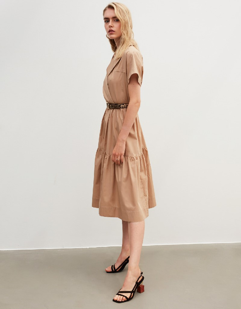 Beige Wrap-Over Form Dress