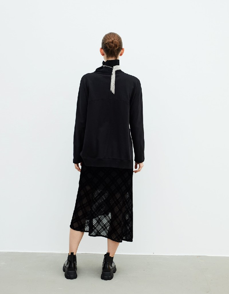 Black Fabric Mix Dress