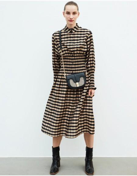 Brown Waist Accent Dress