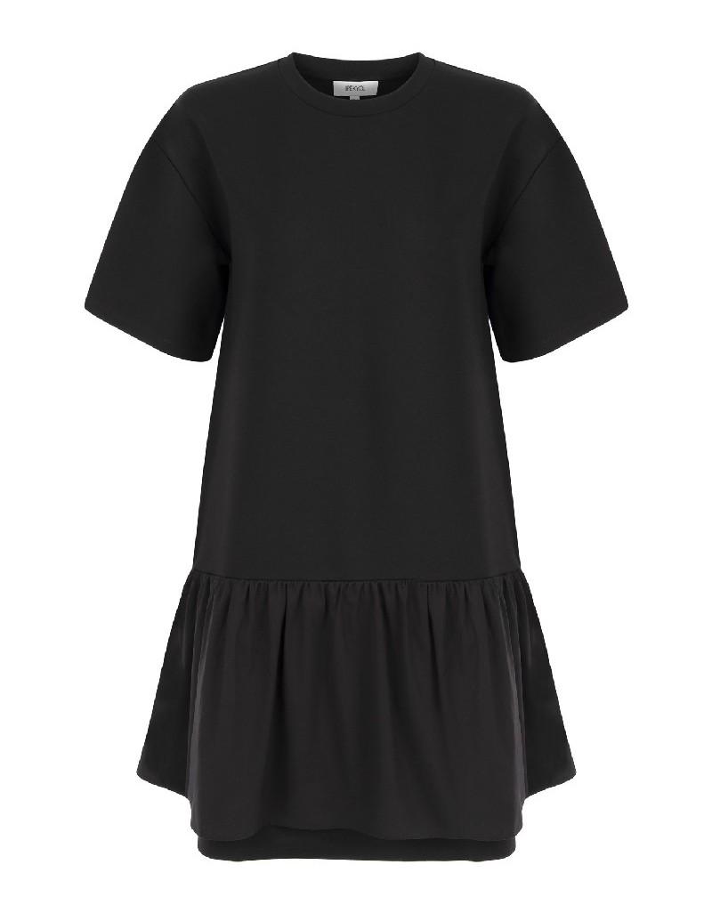 Black Ruffle Striped Dress