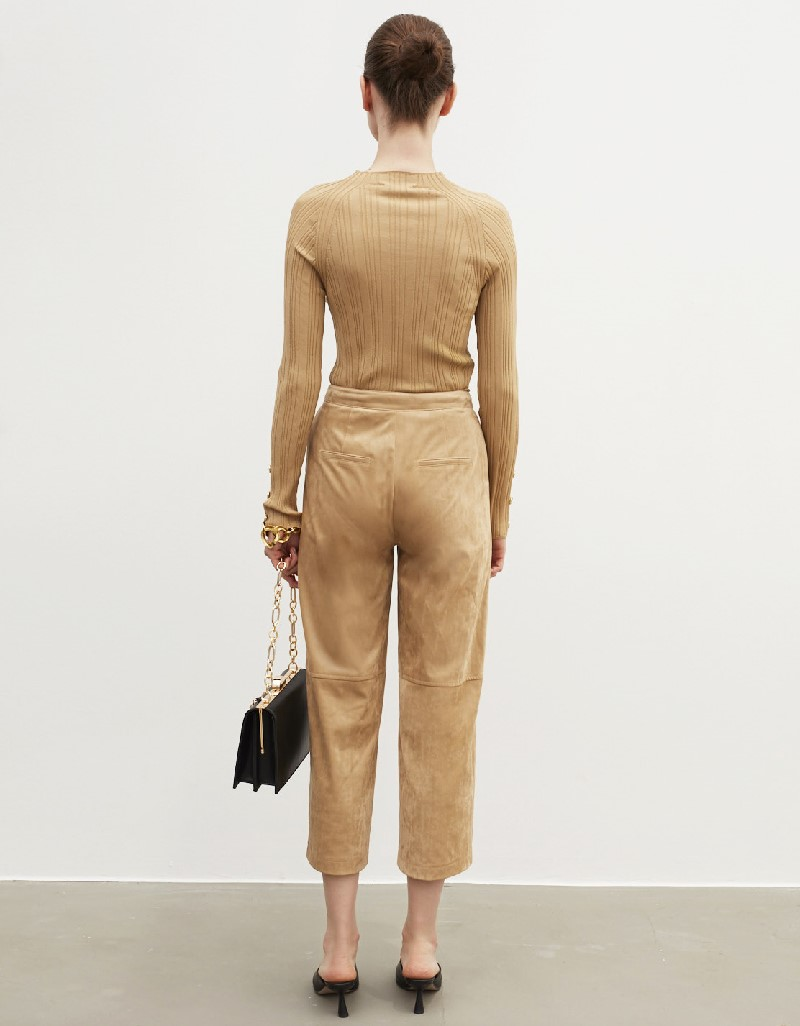 Beige Suede Form Trousers