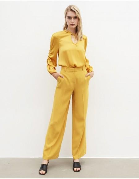 Yellow Wide-Leg Pants