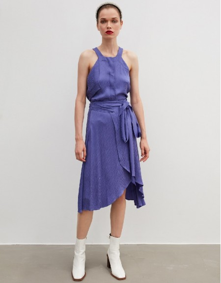 Purple Asymmetric Cut Belted Skirt