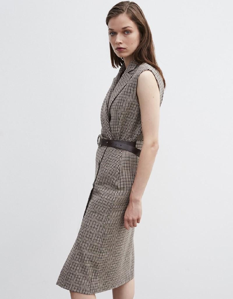 Beige Crowbar Pattern Skirt